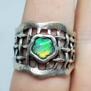 Fire Opal Woven Sterling Silver Ring